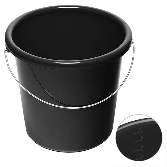 10l Eimer mit Logo Schwarz