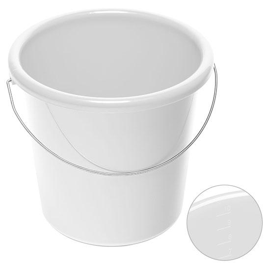 10l Eimer mit Logo Weiß